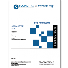 Managerial SOCIAL STYLE Self-Perception Profile